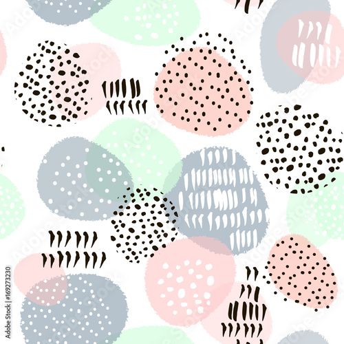 Fototapeta Seamless abstract pattern with hand drawn shapes and elements. Vector trendy texture