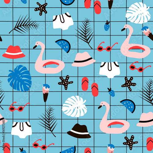 Materiał do szycia Wzór z elementami Lato. Tekstura wektor Creative z palmą, flamingo, pływanie, koło, kapelusz, okulary