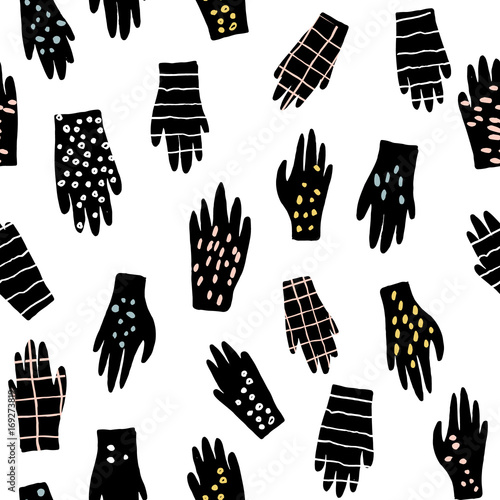 Materiał do szycia Creative seamless pattern with gloves. Ink drawn texture with hands. Vector illustration