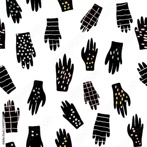 Materiał do szycia Kreatywny wzór bezszwowe rękawice. Atrament ciągnione tekstury z rąk. Ilustracja wektorowa