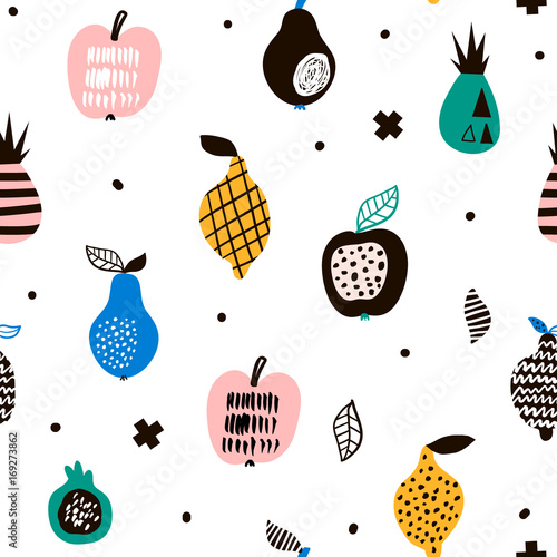 Fototapeta Seamless pattern with creative modern fruits. Hand drawn trendy background. Great for fabric and textile. Vector Illustration