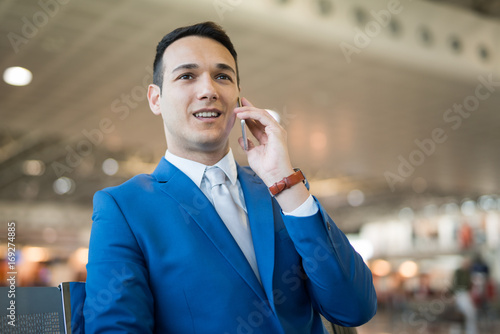 Manager talking on the phone