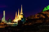 アユタヤ遺跡のライトアップ、タイの世界遺産、夜景