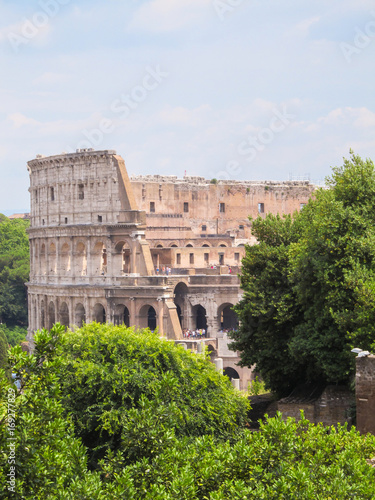 Staande foto Rome A part of the Coliseum viewed among trees - Rome, Italy