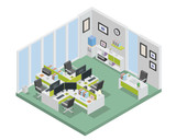 Modern productive creative office space interior design in isometric view. - 169278468