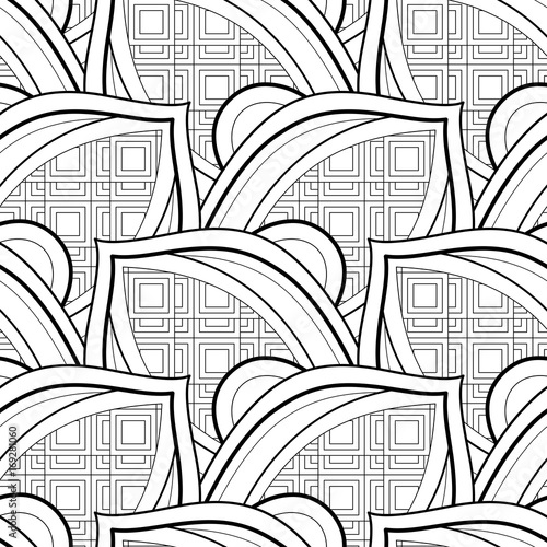 Fotobehang Abstractie Monochrome Seamless Pattern with Ethnic Motifs. Endless Texture with Abstract Design Element. Art Deco, Nouveau, Islamic, Arabic Style. Coloring Book. Vector Contour Illustration. Ornate Abstraction
