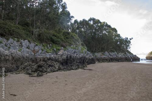 Fotobehang Grijs Playa Natural en acantilado