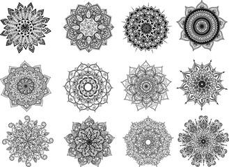 Vector Beautiful Handdrawn Mandala set, Patterned Design Element