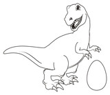 Dinosaur Reptile Raptor Rex Cartoon Illustration  Hunter Stand Not Colored Coloring Paint Egg  Wall Sticker