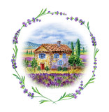 Landscape with house and field of lavender in a frame of lavender, watercolor drawing on white background, isolated. - 169292670