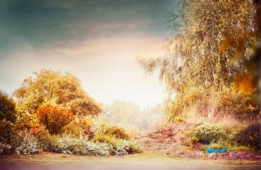 Autumn garden landscape with beautiful sky