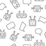 Cartoon Character Cute Robot Seamless Pattern Whith Chat Bubble Outline Stroke Pictogram    Chat Bot Pattern For S Mobile App Wall Sticker