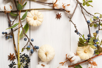 Autumn frame of dried flowers on white wood background