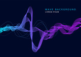 Abstract background with dynamic particle sound waves. Wave of musical soundtrack for record. Vector illustration - 169302046