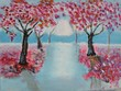 colourful painting sakura trees and subset - 169303025