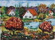 colourful painting of little village and lake - 169303277