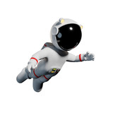 cute cartoon astronaut in white space suit is weightless in zero gravity space - 169303415