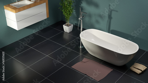 Modern bathroom with green walls and slate floor 3d rendering
