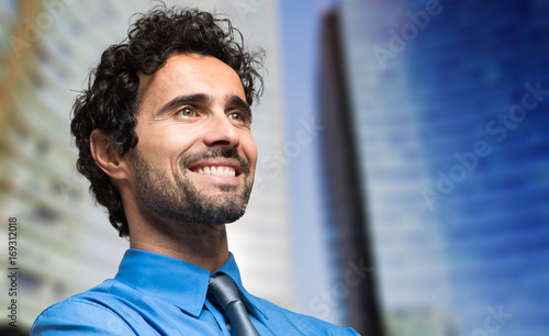 Young manager outdoor smiling
