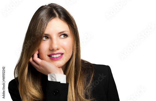 Beautiful smiling businesswoman isolated on white