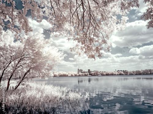 Fotobehang Moskou Lake White. Infrared photography