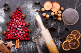 Christmas food. Ingredients for cooking Christmas baking, top view - 169314262