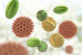 Pollen grains from different plants, 3D illustration. They are factors causing hay fever and allergic rhinitis - 169314413