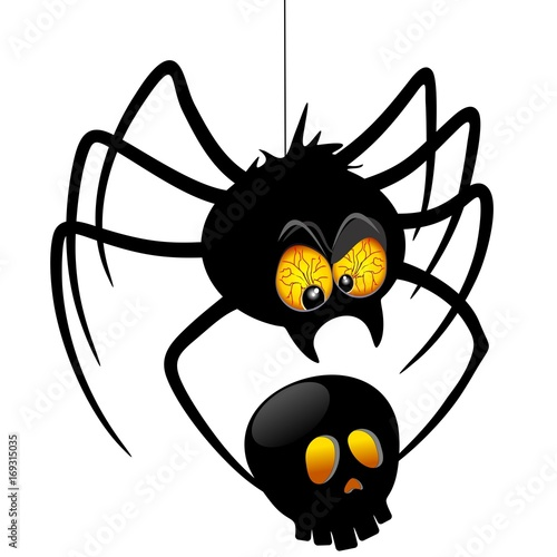 Poster Draw Halloween Spider Cartoon holding Black Skull