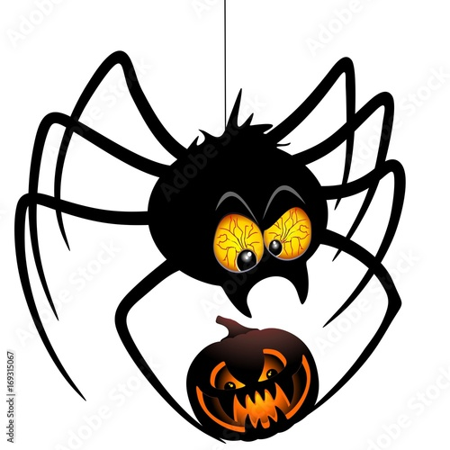 Tuinposter Draw Halloween Spider Cartoon holding a Pumpkin