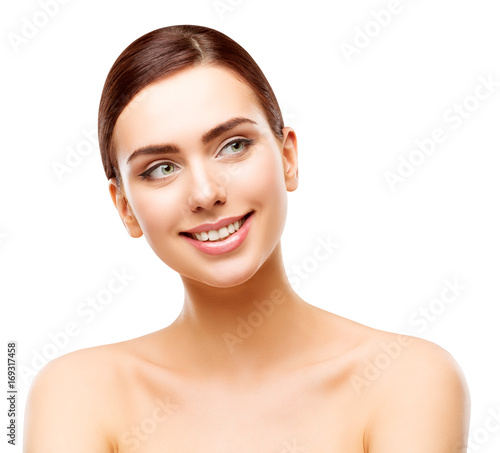 Happy Woman Beauty Face Skin, Smiling Model Looking Side Away, Beautiful Girl Makeup, white isolated