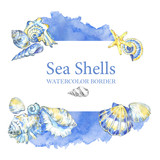 Hand painted seashells border. Watercolor decorative summer background. Original hand drawn illustration. Marine design. Tropical shell, starfish texture. - 169341460