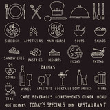 Hand drawn chalk stroke restaurant outline vector icons on blackboard - 169341637