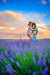 mother with the beloved daughter walk in the lavender field on a sunset