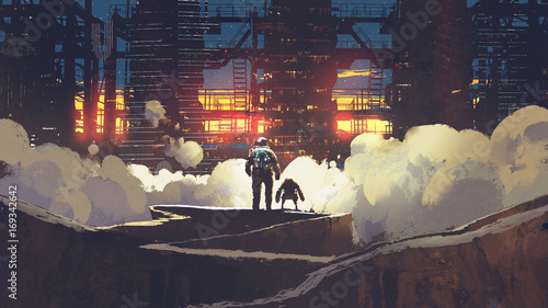 astronaut and little robot looking at futuristic city at sunset, digital art style, illustration painting © grandfailure