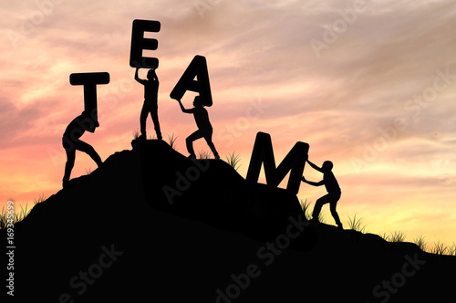 silhouette team work of men helping and lifting word, concept as  improving and Poster