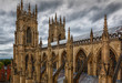 Telephoto shot of the towers of York Minster in Yorkshire, England, UK against a dramatic sky