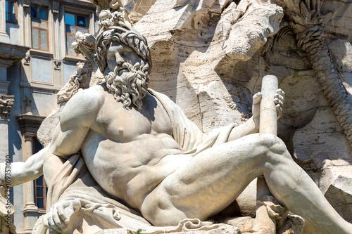 Foto op Plexiglas Rome Fountain of the Four Rivers in Rome