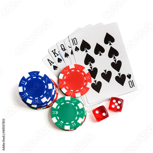 Poster Casino red dice, play cards as roial flush  and chips isolated
