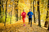 Friends jogging in autumn nature - 169367229