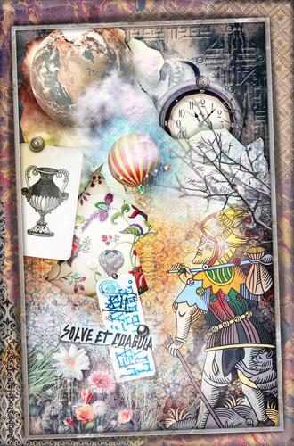Papiers peints Imagination Pellegrinaggio mistico,sfondo con graffiti esoterici e matto dei tarocchi.