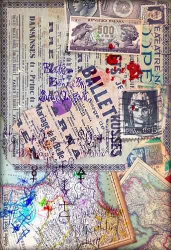 Papiers peints Imagination Patchwork con collage misteriosi,formule,mappe e francobolli antichi