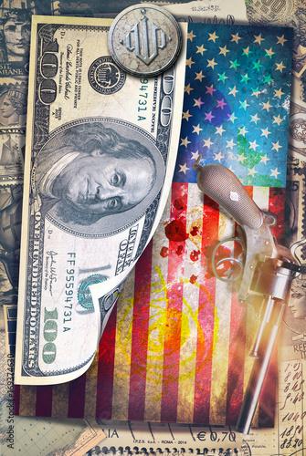 Staande foto Imagination Sfondo con graffiti, bandiera degli stati uniti,dollaro e revolver