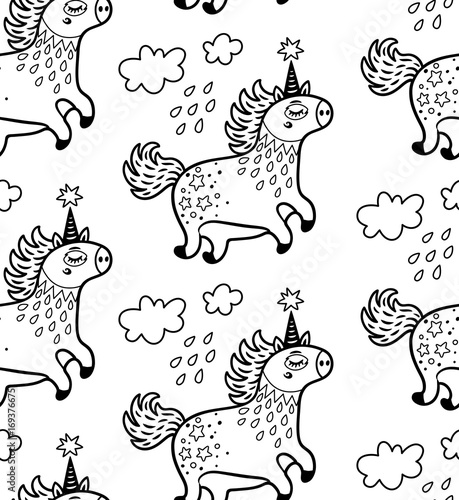 Cotton fabric Seamless pattern with cute unicorns and clouds in outline