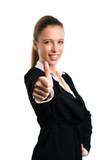 Geschäftsfrau mit Daumen Hoch Geste