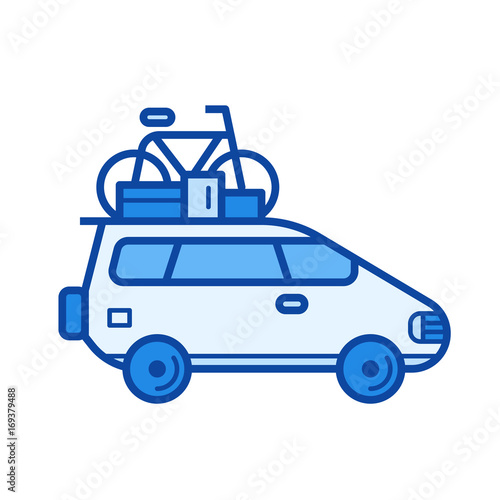 Car trip vector line icon isolated on white background. Car trip line icon for infographic, website or app. Blue icon designed on a grid system.