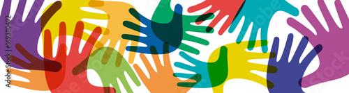 Vector banner teamwork, open hands. Solidarity concept, background