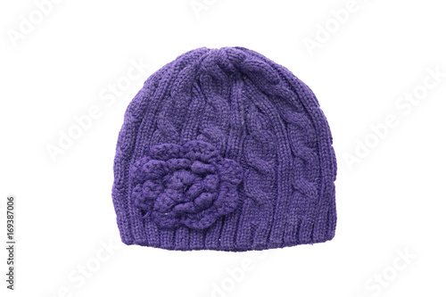 Warm Winter purple knitted wool hat isolated on white background