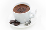 hot chocolate in a cup, closeup, top view - 169388632