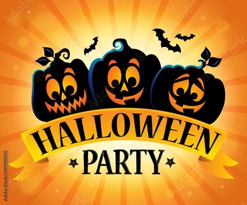 Fotobehang Voor kinderen Halloween party sign topic image 5