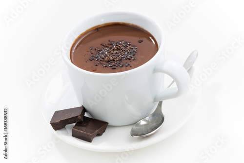 Foto op Canvas Chocolade hot chocolate in a cup, closeup, top view